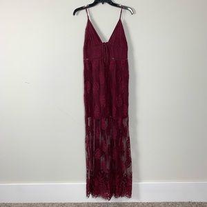 F21 Full lace maxi dark red wine color small